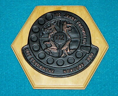 NORTORF, GERMANY : Volunteer FIRE DEPARTMENT : 112 Years of Service LOGO Plaque