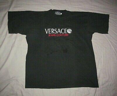 VERSACE Jeans Couture Original VTG 1990s black QHW embroidered T shirt Men's XL