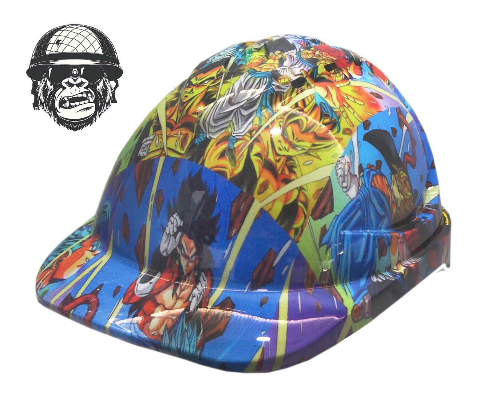 Custom Hydrographic Safety Hard Hat Mining Industrial - DRAGON BALL Z CAP STYLE