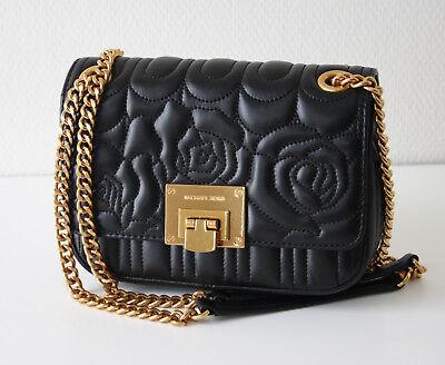 Leder Flap Shoulder Bag (MICHAEL KORS TASCHE/BAG VIVIANNE SM Shoulder Flap schwarz black Blumen)
