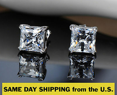 $19.99 - PRINCESS CUT EARRINGS 1CT. LAB DIAMOND STUDS 14K WHITE GOLD SQUARE SOLITAIRE