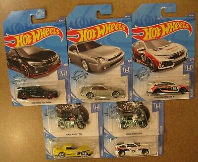 2020 Hot Wheels HONDA COMPLETE SET of 5 7 J Case 98 HONDA PRELUDE 18 Civic TypeR