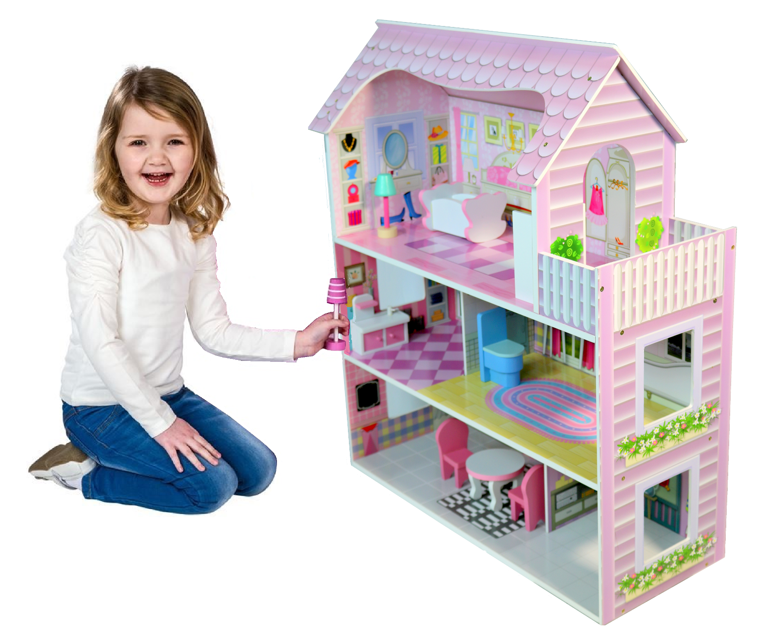Large Children's Wooden Pink Dollhouse Fits Barbie Doll House W 8 Pcs Furniture