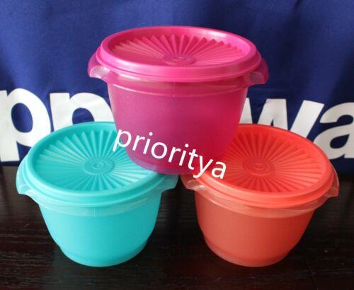 Tupperware Servalier 20oz Bowls Liquid Tight Seals Aqua Pink Coral Set of 3 New