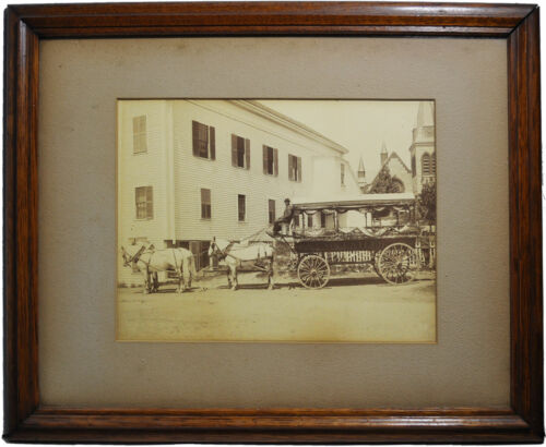 VOLUNTEER – Parade Wagon & Horse team with identified driver – albumin photo