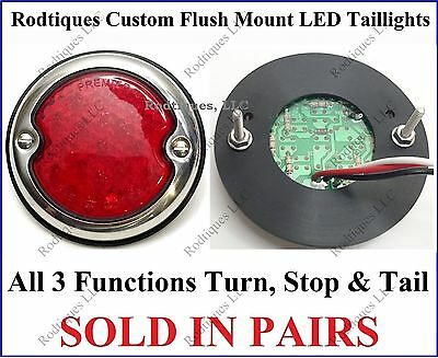 Flat Mount Red LED Taillights Roll Pan Bumper Custom Chevy Pickup Truck F3336