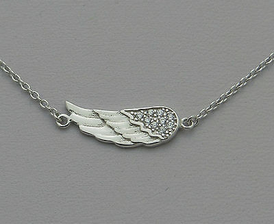Angel Solid Sterling Silver Necklace - .925 Solid Sterling Silver CZ Sideways Angel Wing Necklace