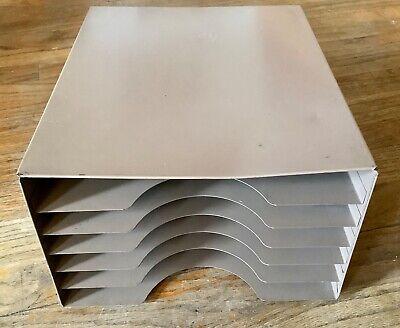 Vintage Industrial Metal Desk Paper Organizer 6 Tray Lit-ning Mid Century