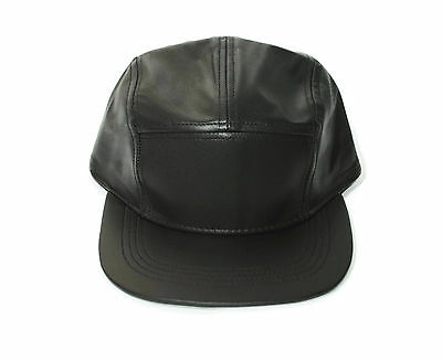 5 panel PLAIN GENUINE Leather Snapback Hat cap BRAND NEW 2017 trend hater style