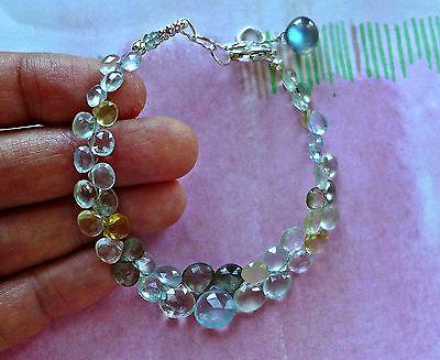 Handcrafted Aquamarine Blue Topaz Labradorite 925 Sterling Silver Bracelet 7