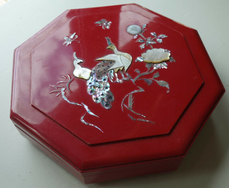 Vintage Korean Red Lacquer & Mother of Pearl Gujeolpan Tray of Nine Delicacies