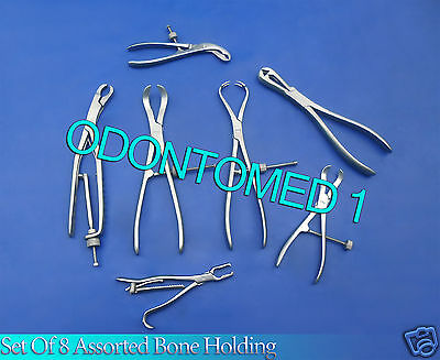 Set Of 8 Assorted Bone Holding Orthopedic Instruments