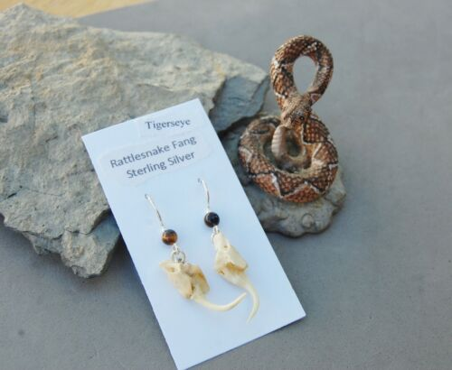 Hand Crafted Genuine Rattlesnake Fang Earrings Sterling Silver Tigerseye Beads