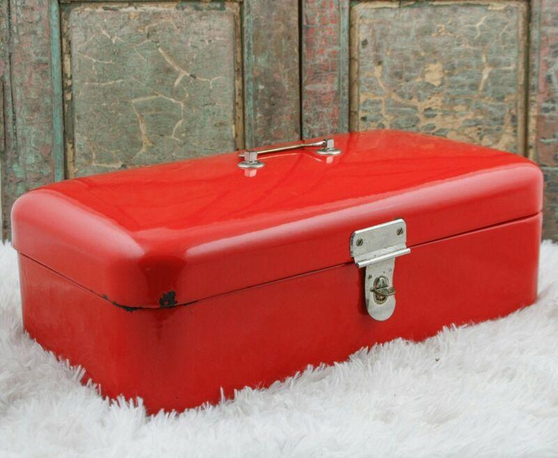 Enamel BREAD BOX DUTCH Enamelware BreadBox Large RED Boite a pain emaillee
