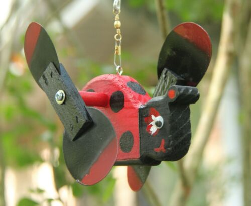 Ladybug Mini Whirligigs Whirligig Windmill Yard Art Hand made from wood