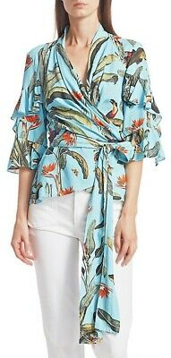 $375 PatBO Tropical-Print Wrap Top. Size M