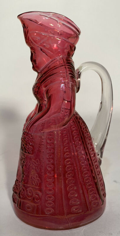 """Vintage Pink Glass 7.5"""" Syrup Dispenser Pitcher Very Rare"""
