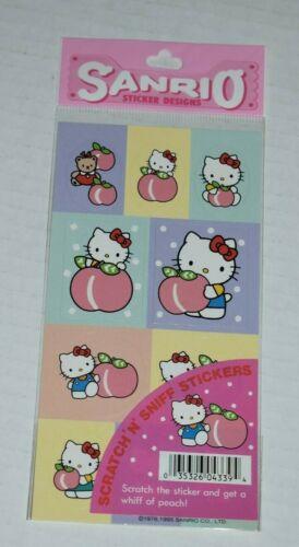 1995 sanrio HELLO KITTY scratch n sniff stickers PEACH