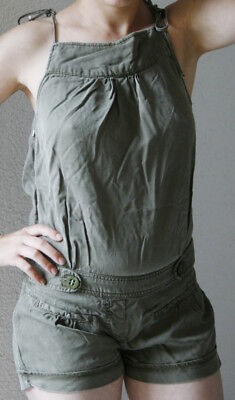 Sold Out! ZARA Short Cargo Lyocell Overall S 36 XS 34 Jumpsuit Khaki Military  Military Overall