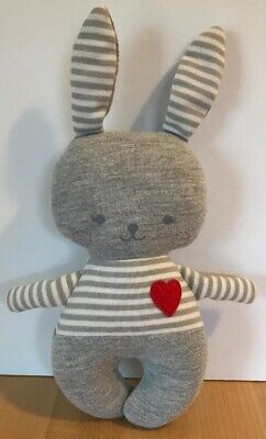 Heart Baby Rattle - Alimrose Design Australia Baby Bunny Rabbit rattle lovey Gray Grey Striped Heart