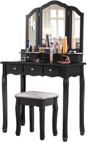 Girls Women Dressing Table Stool Vanity Makeup Set Tri-Folding Mirror 5 Drawers