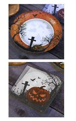 Pumpkin Graveyard Paper Tableware Table Top Party Food Halloween Spooky Kids Fun ()