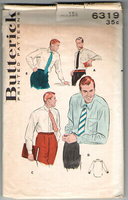 1950s Mens Suits & Sport Coats   50s Suits & Blazers Butterick 6319 Men's Shirts: Variety of Collars and Cuffs,  Neck Size 15-1/2 $9.99 AT vintagedancer.com