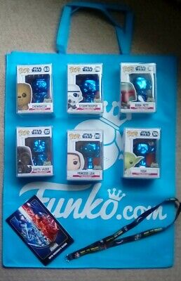 Funko pop STAR WARS blue chrome Chicago celebration 2019 set