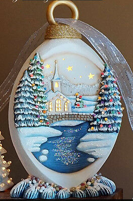 Ceramic Bisque Ready to Paint Large Christmas Ornament with Church scene