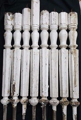 Architectural Salvage Tall Wooden Octagon Shaped Spindle Balusters Set of 8