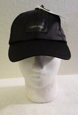NWT Calvin Klein Womens Logo Tag Satin Baseball Cap Hat One Size Black MSRP$34