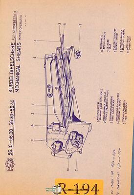 Ras Reinhardt 56.10 56.20 56.30 56.40 Shears Operation Parts Manual 1966