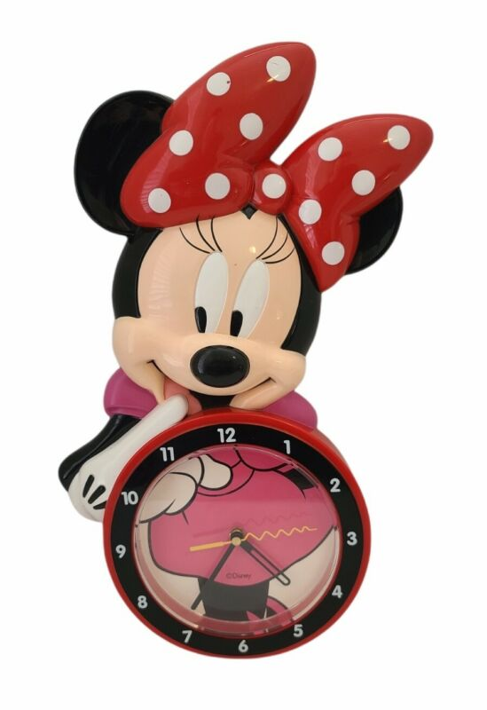 """Disney Minnie Mouse Quartz Wall Clock by Time Concepts TESTED WORKS, 18""""x9"""""""