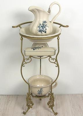 Waschset mit Ständer Antik Lavabo Waschschüssel Krug Seifenschale Nachttopf Blau