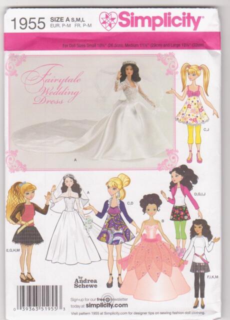 Simplicity Pattern 1955 / 0382 Royal Wedding Clothes for Bratz Barbie Moxie Doll
