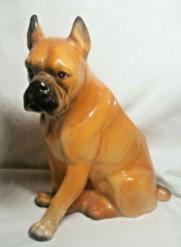 Vintage RELPO Japan Porcelain Statue Figurine Planter Boxer Dog No 1877 Beauty