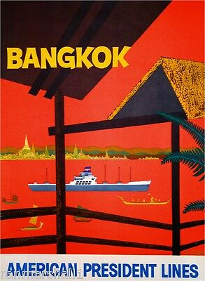 Bangkok Thailand Thai River Asia Asian Travel Advertisement Art Poster
