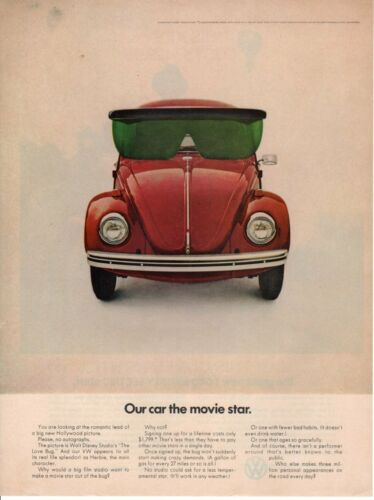 Vintage Print advertisement ad Car VW Volkswagen 1964 bug beetle Sun Shades Star