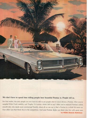 Vintage Print advertisement ad Car PONTIAC 1964 Bonneville People Tell Us Sunset