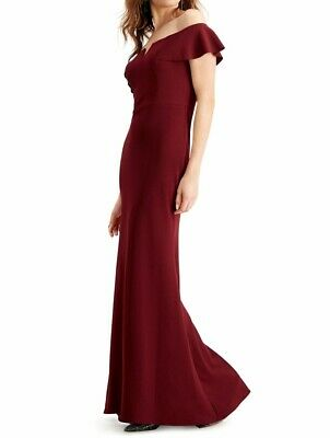 Betsy & Adam Womens Dress Red Size 4 Ball Gown Off-shoulder Ruffled $239 318
