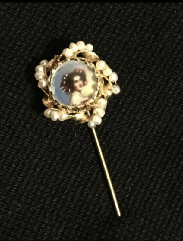 Stick Pin 14K Gold Pearl Portrait Pin hatpin Lovely and Delicate