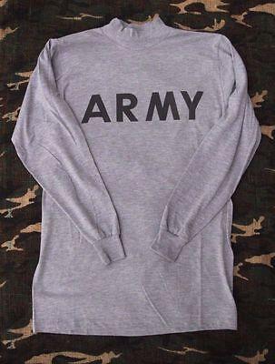 NEW GENUINE US ARMY GRAY LONG SLEEVE T SHIRT PT PHYSICAL FITNESS MEDIUM