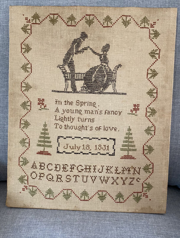 Antique 1831 Folk Art Sampler Embroidery Alphabet, Silhouettes Love Poem