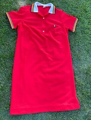 Sz18.5 Vintage Plus Size Red Polyester Bootleg Gucci Polo Style Shirt Dress