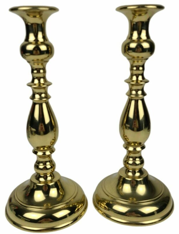 "Vtg. Virginia Metalcrafters Brass Candlesticks Candle Holder 10.5"" Tulip 3016 -2"