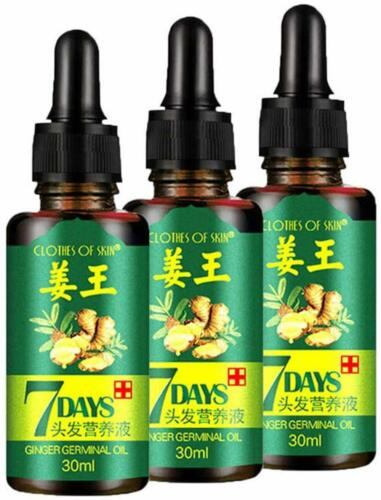 3pcs Hair Regrow 7 Day Ginger Germinal Serum Essence Oil Loss Treatment Growth Hair Care & Styling