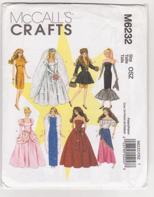 """McCall's Pattern M6232 / 8552 Doll Clothes for 11 1/2"""" Dolls ie Barbie - Bride"""