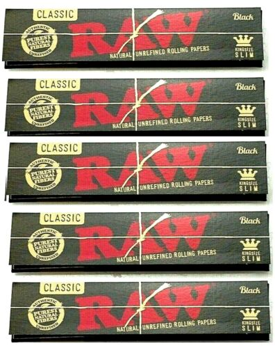 5x Raw Black King Size Slim Rolling Papers Gold Lettering AUTHENTIC USA Shipped