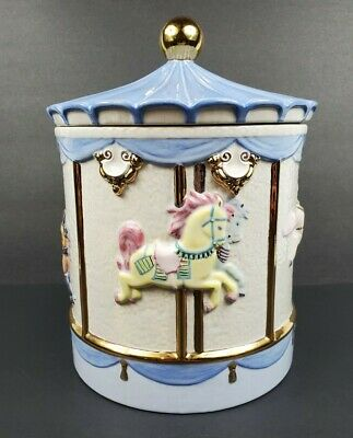"Large 12"" Ceramic Carousel Cookie Jar Canister Container White Blue Gold Horses"