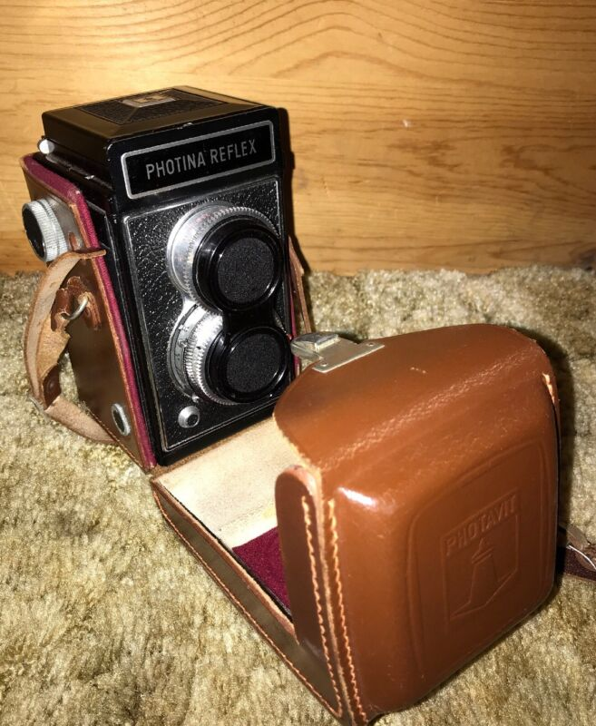 Antique Vintage Camera Photina Reflex Photavit TLR With Leather Case